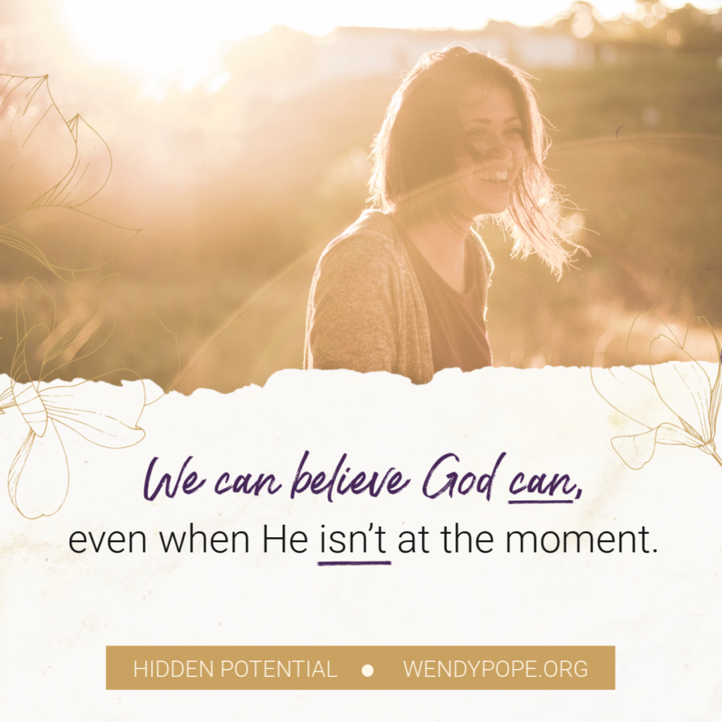 We can believe God can even when He isn't at the moment. - Wendy Pope https://wendypope.org/hidden-potential/